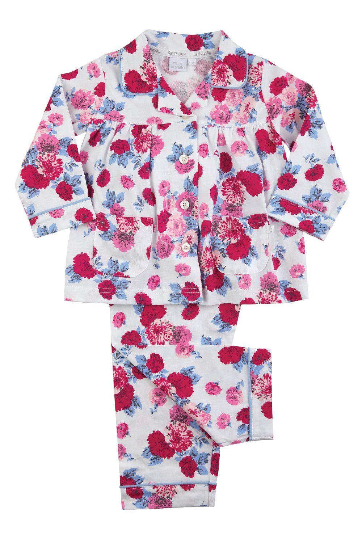 Girls Traditional Rose Print Pyjamas
