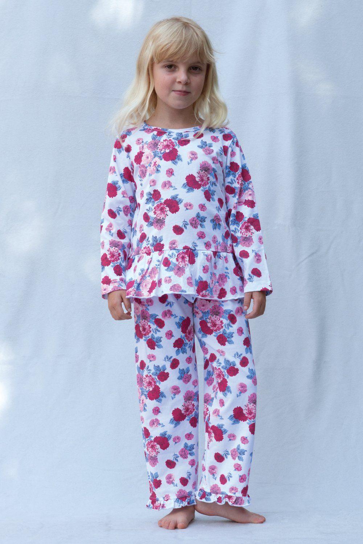 Girls Peplum Rose Print Pyjamas