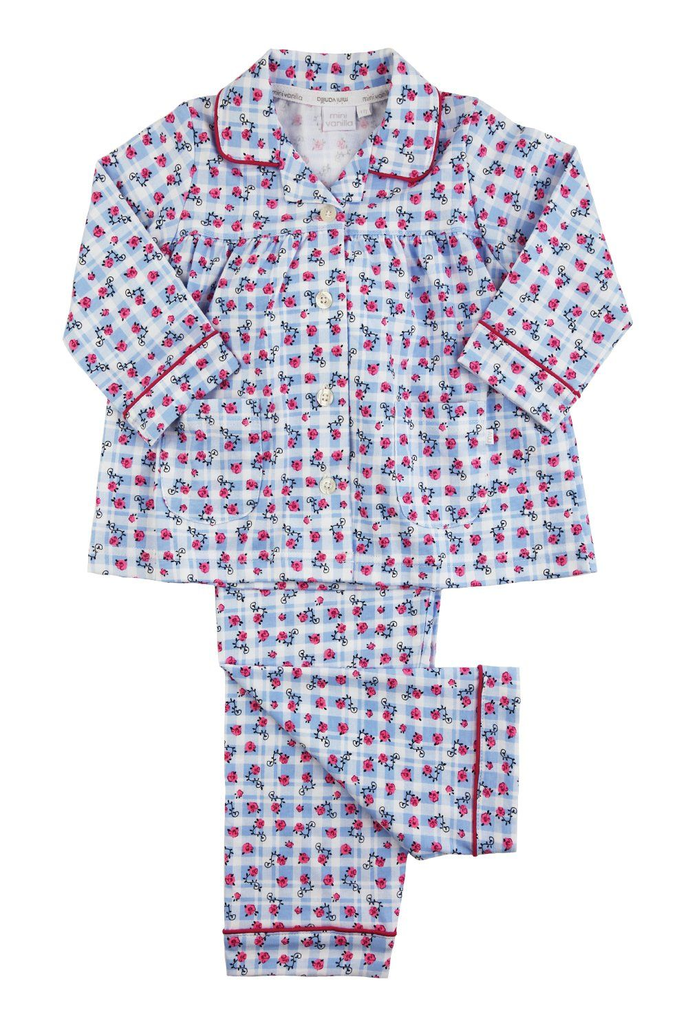 Girls Blue Cotton Traditional Pyjamas