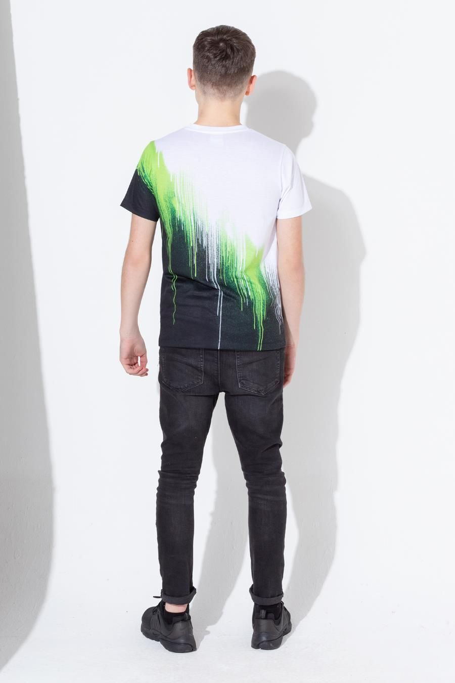Hype Lime Diagonal Drips Kids T-Shirt