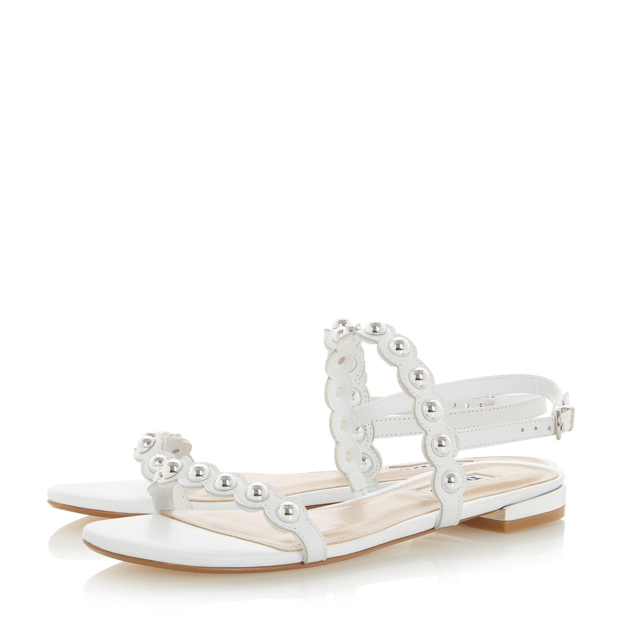 Dune Ladies NEELLA Stud Embellished Scalloped Trim Sandal