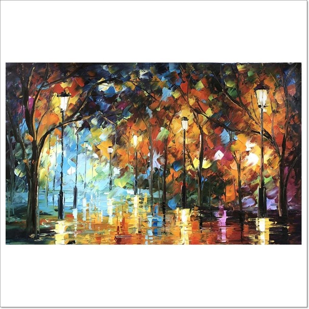 Oil Painting - Night Bathed In Light Cm. 60x100