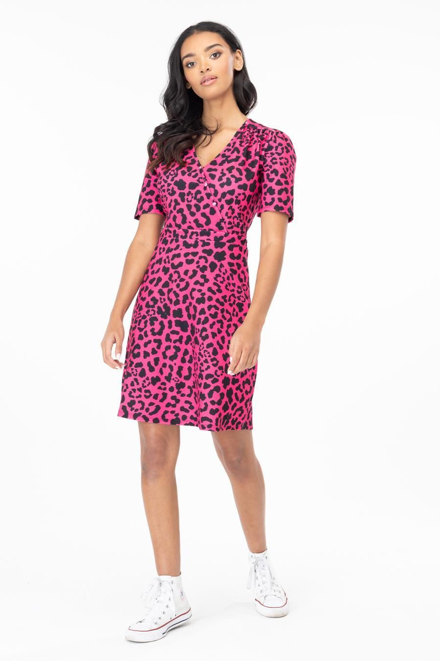 Hype Fuchsia Leopard Womens Tea Dress