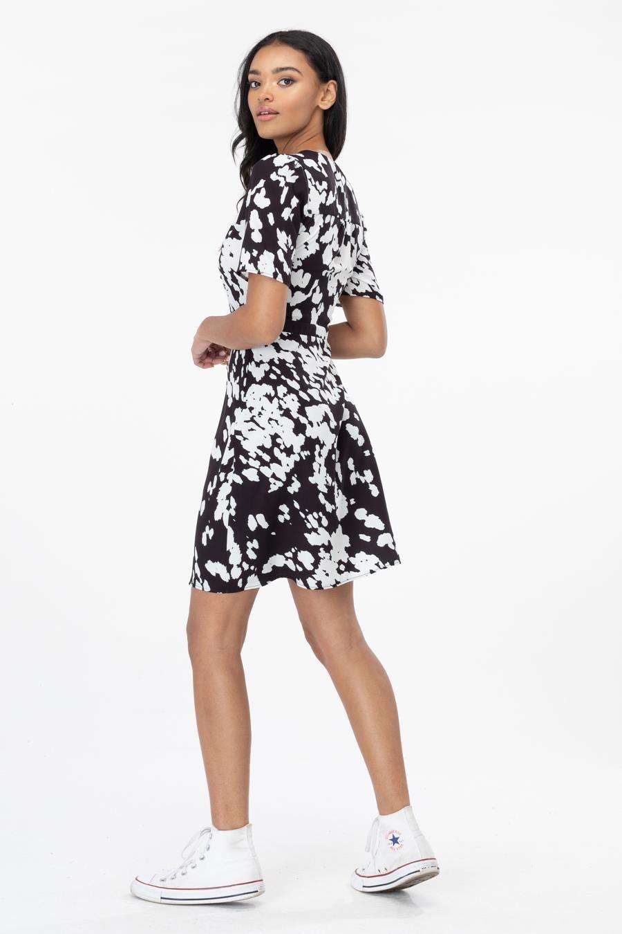 Hype Abstract Cow Print Womens Tea Dress