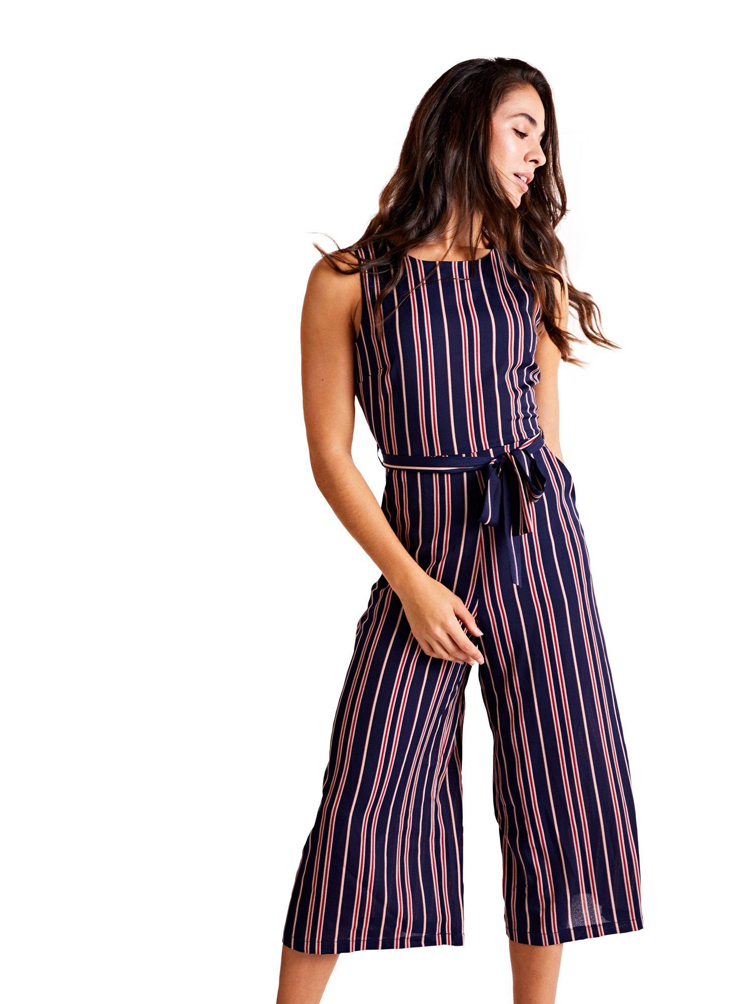 Nautical Stripe Culotte Jumpsuit