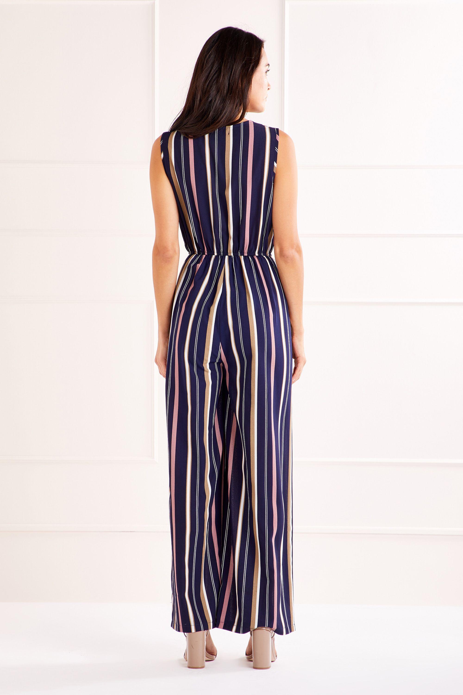 Striped Wrap Front Jumpsuit