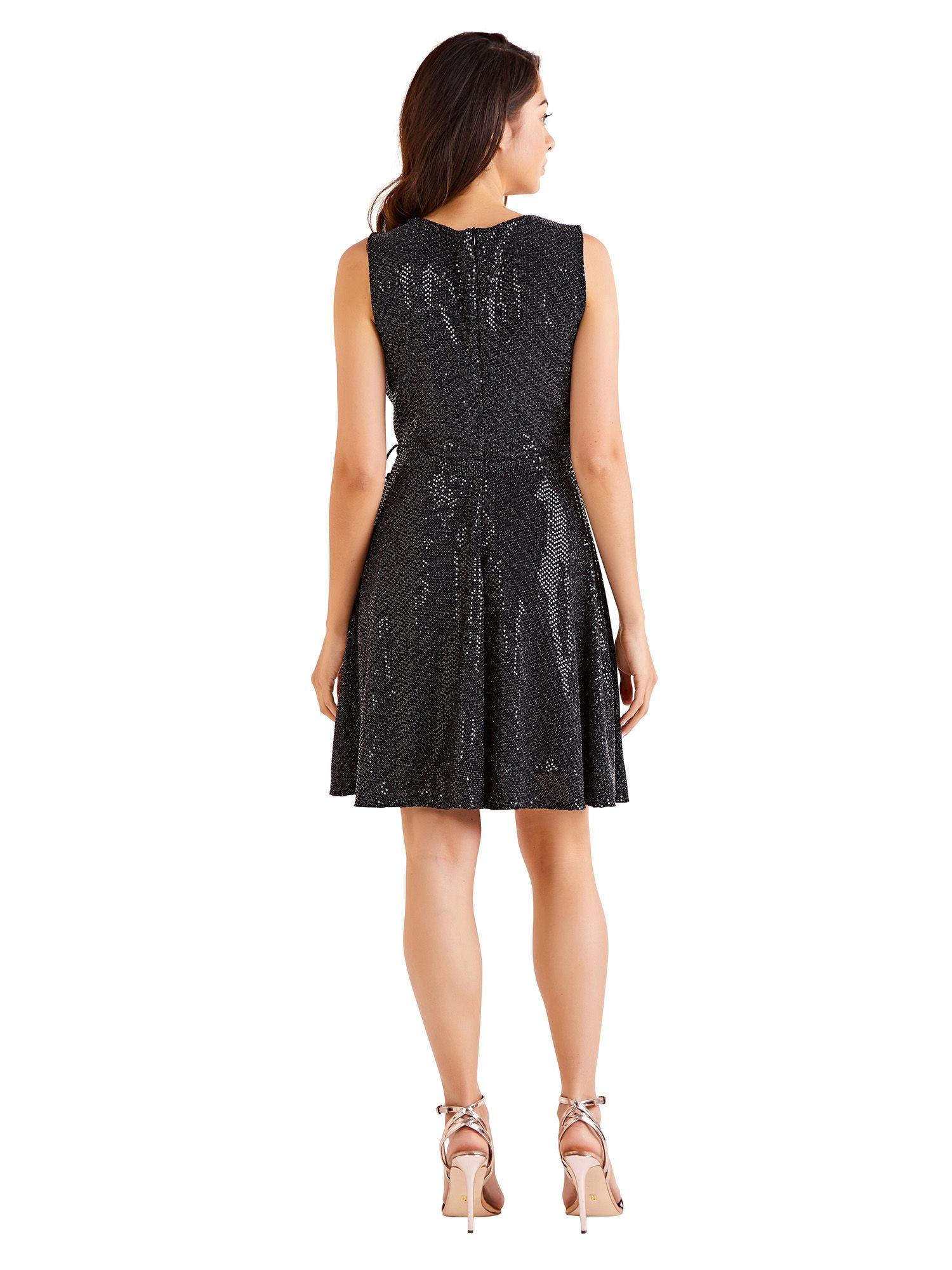 Metallic Belted Skater Dress