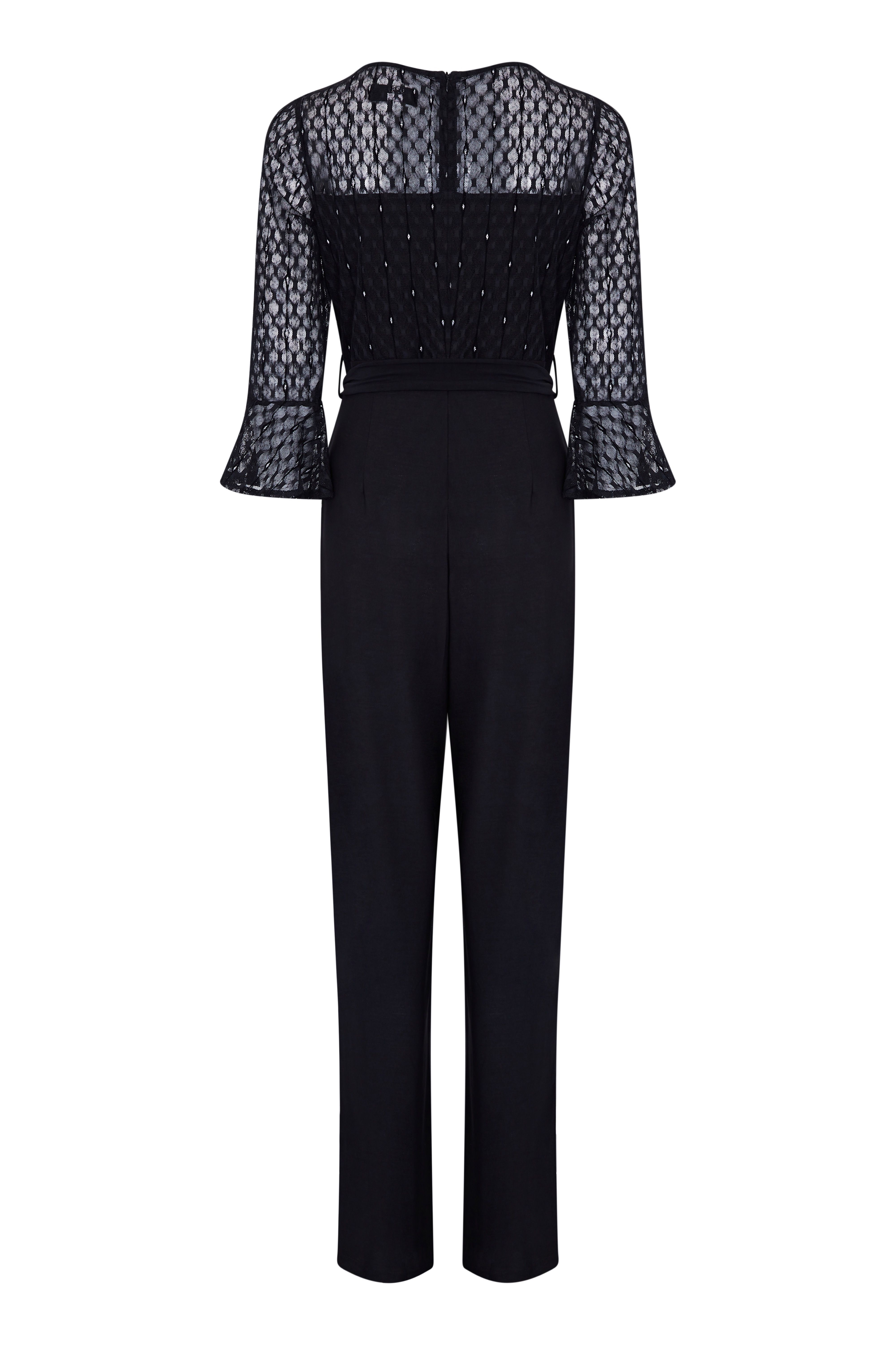 Lace Top Fluted Sleeve Jumpsuit