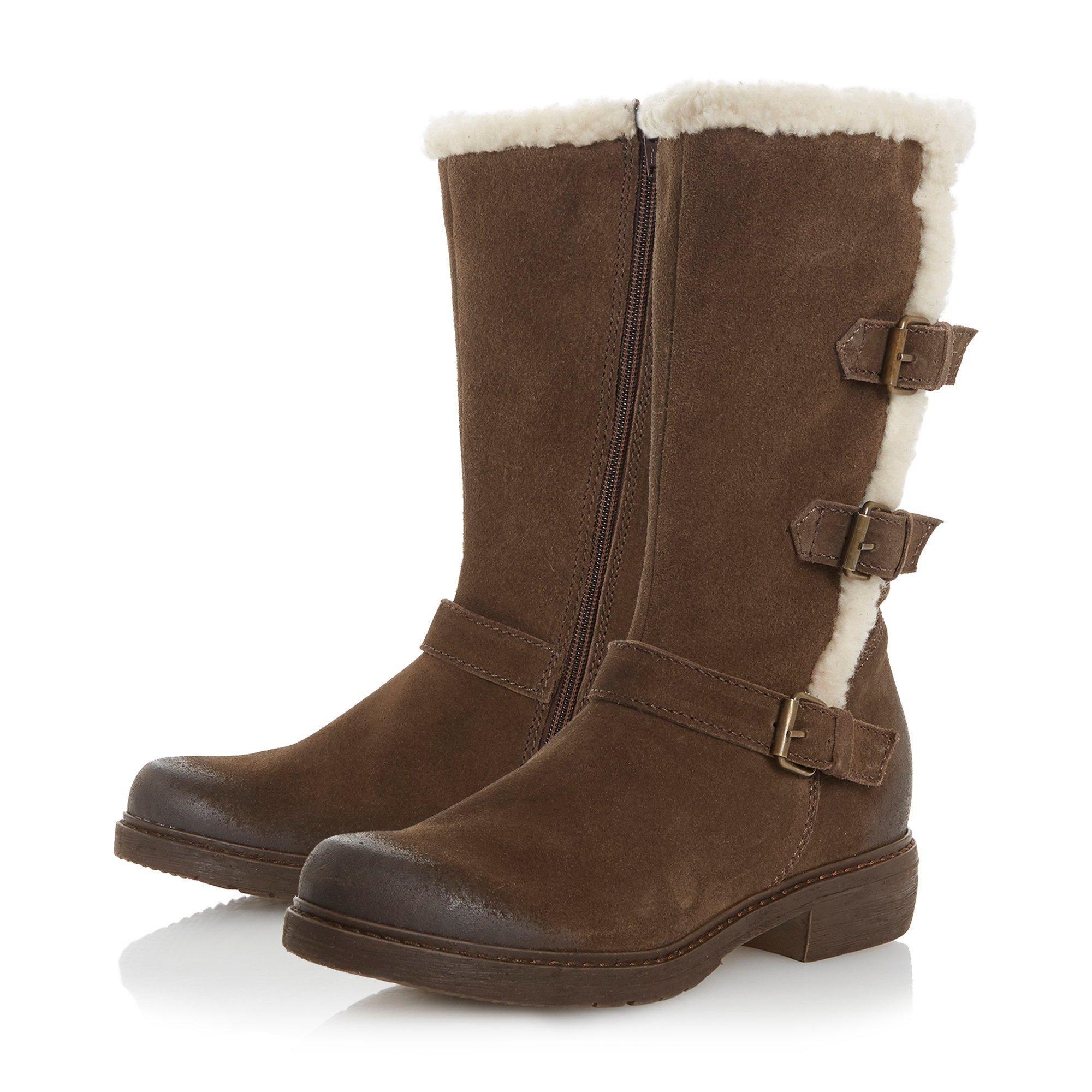 Dune Ladies REACTIVE Fur Lined Buckle Calf Boots