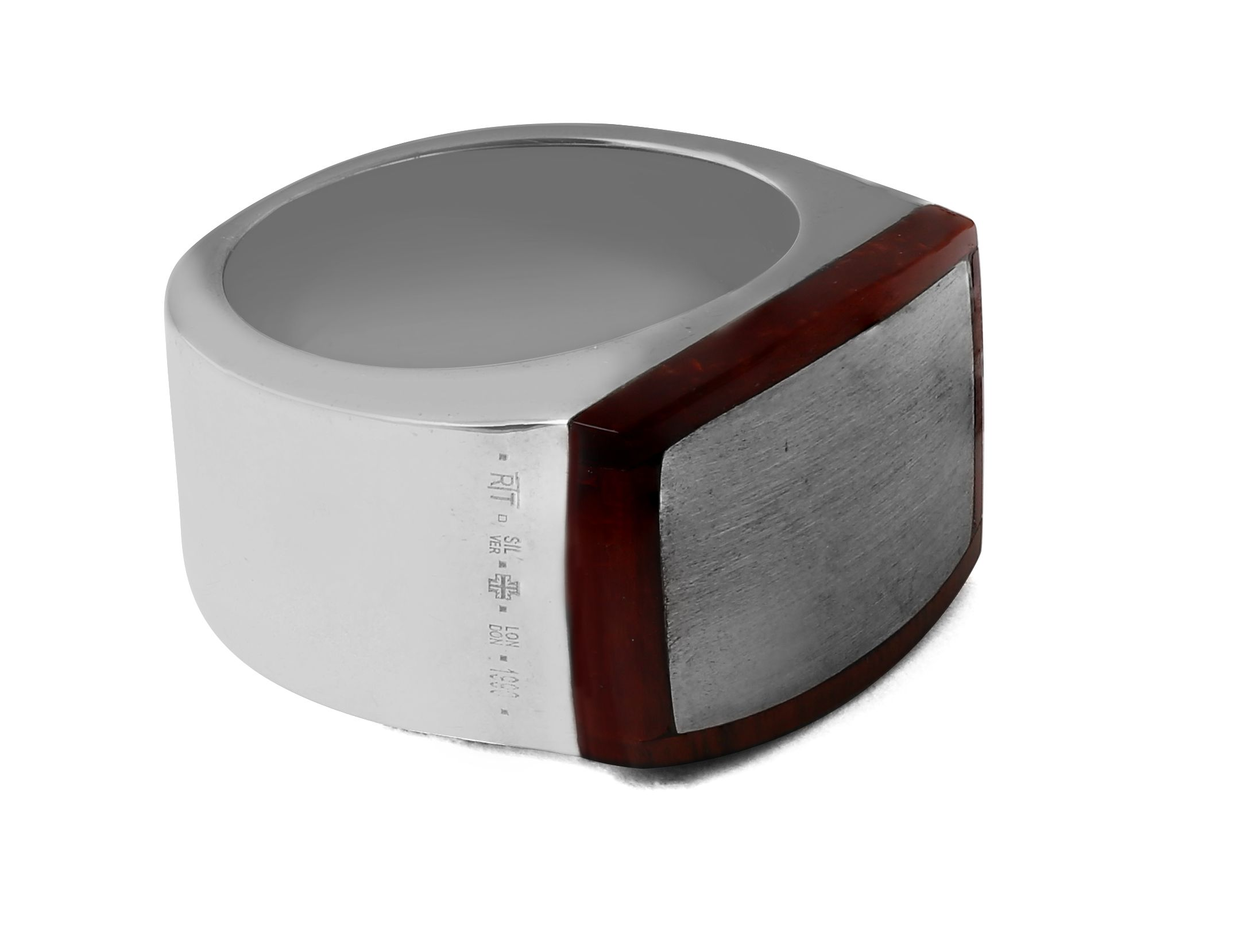 Silver Tiger Eye Red 19mm Round Trojan Classic -- Ring