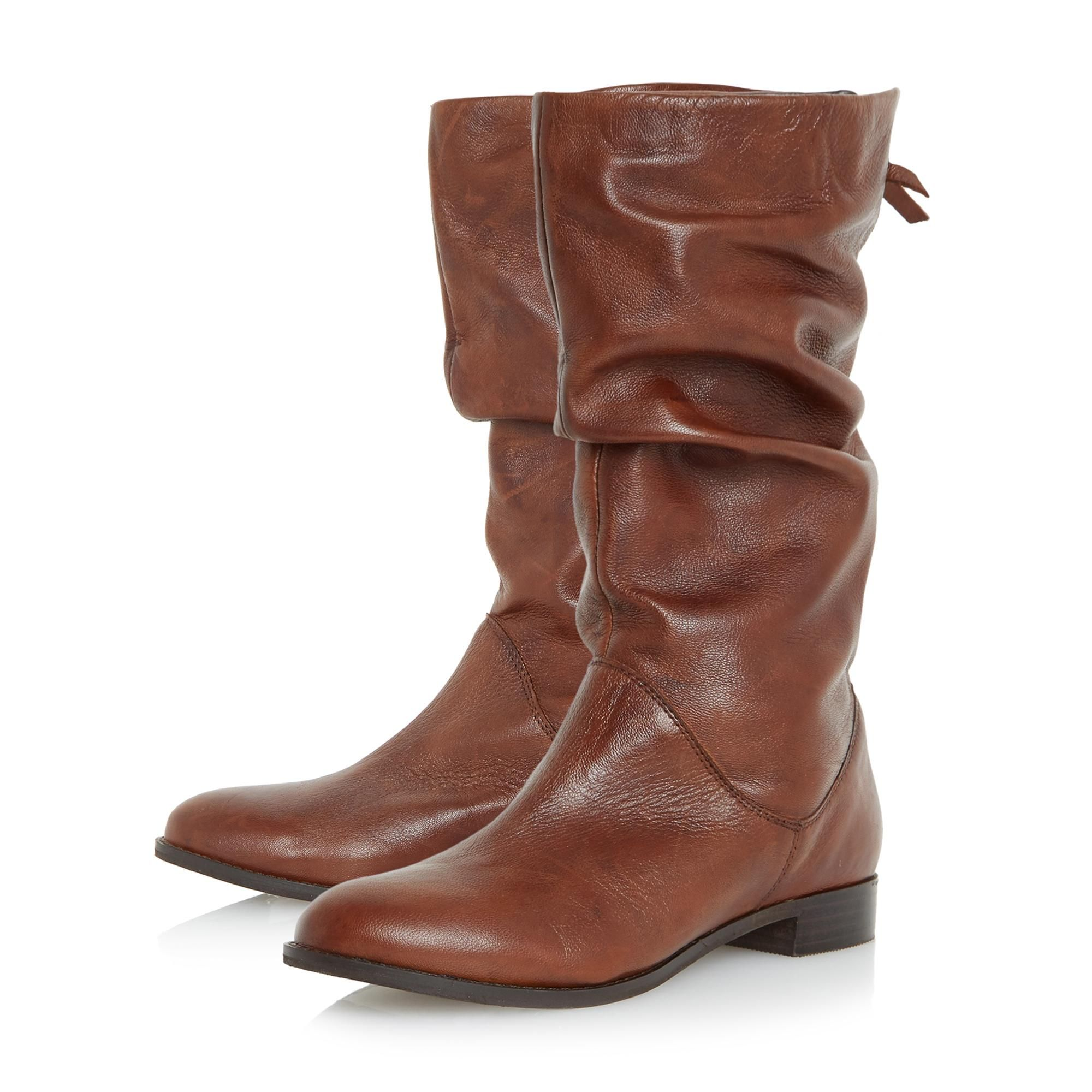 Dune Ladies ROSALIND Slip On Ruched Calf Boots