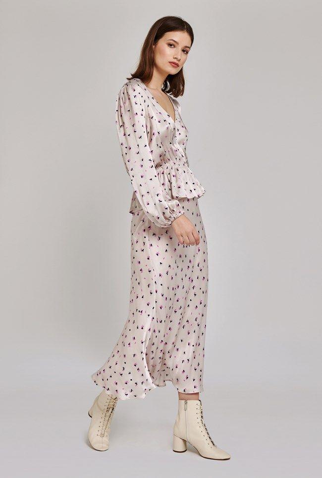 Lizzie  Floral Printed Satin Skirt