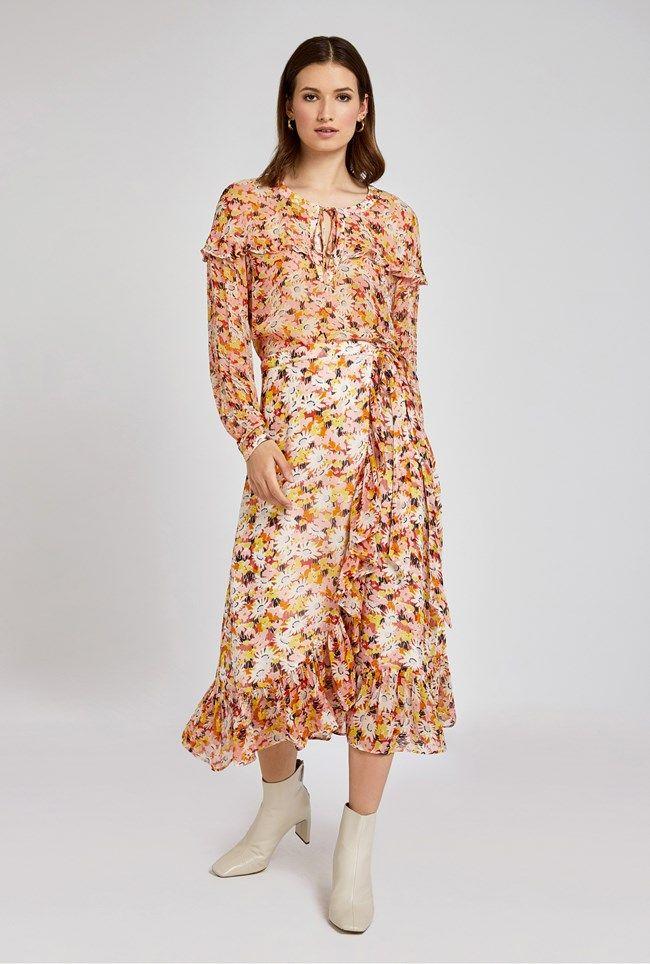 Abella Retro Floral Print Georgette Skirt