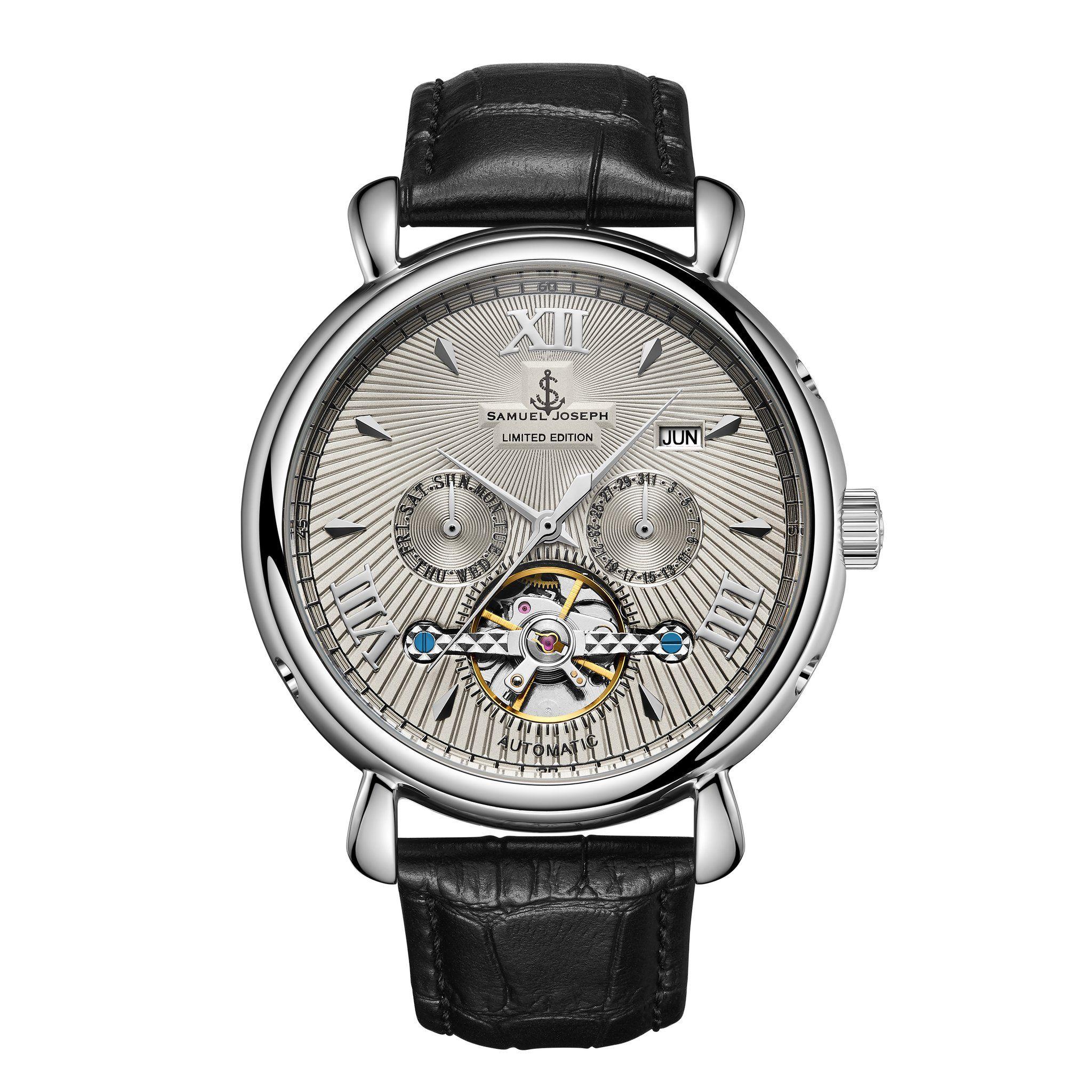 Samuel Joseph Limited Edition Steel & Blue Automatic Designer Mens Watch