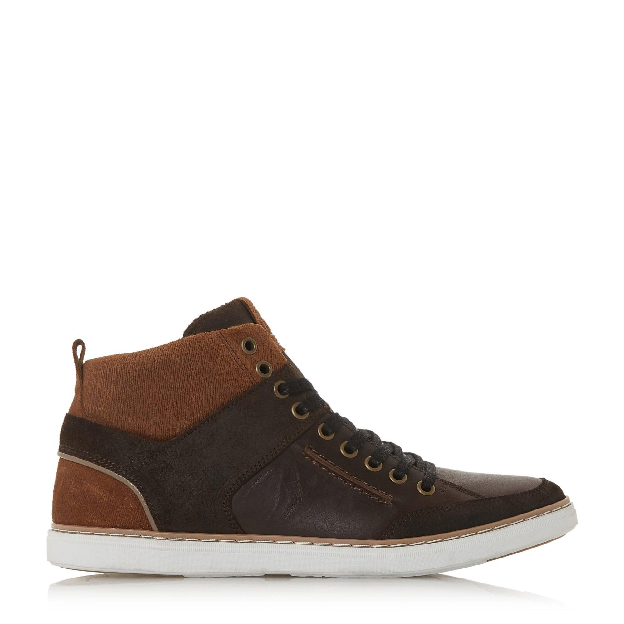 Dune Mens SVEN Leather Hi-Top Trainers