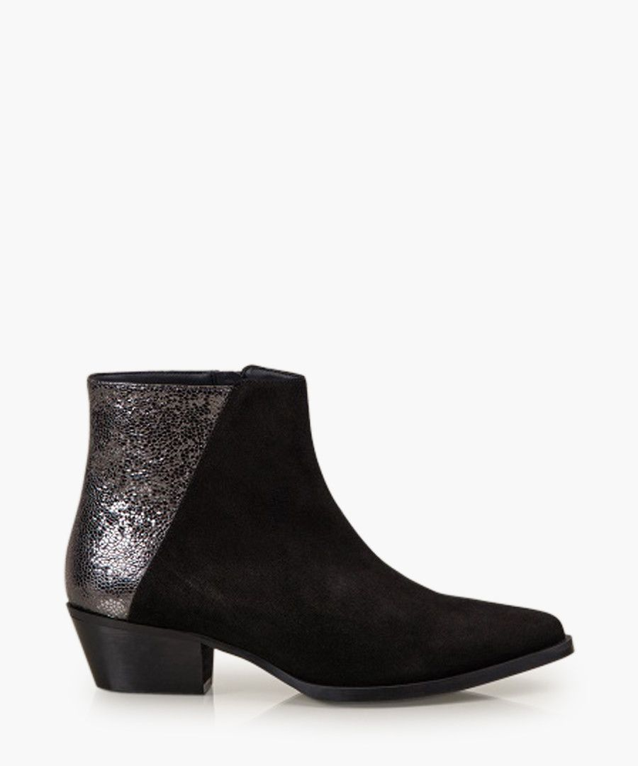 Alice black and silver-tone boots
