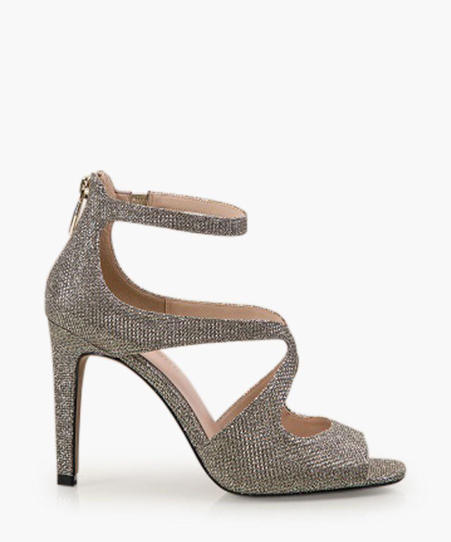 Ella gold-tone open-toe heels