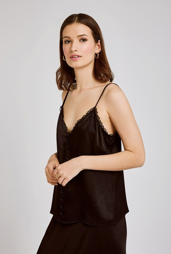 Iris Black Satin Cami
