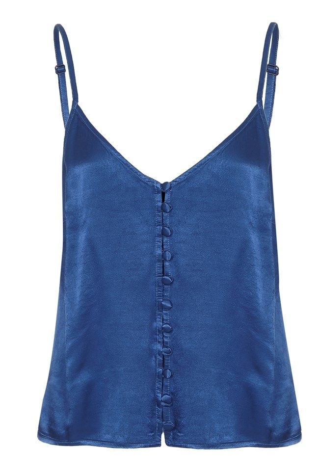 Melly Airforce Blue Satin Cami