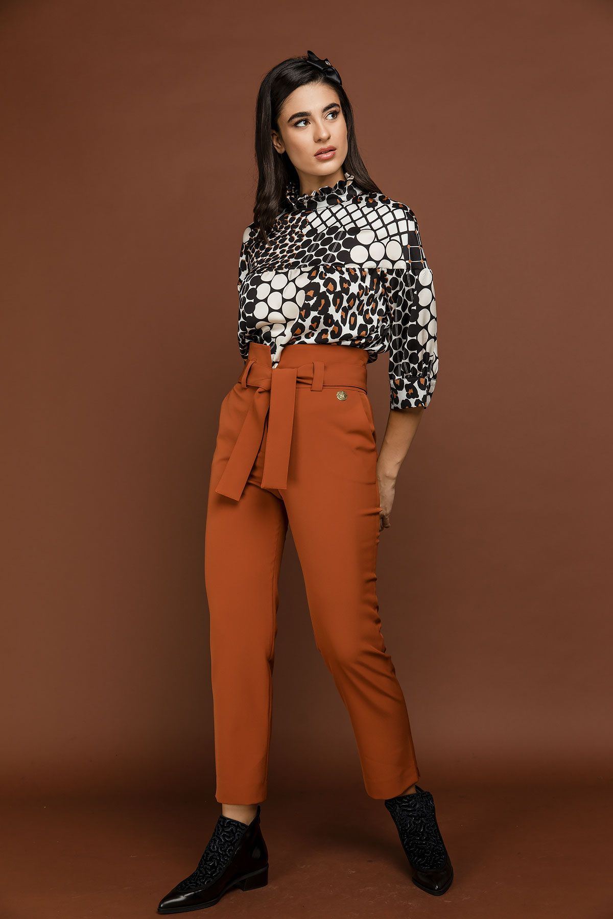 Orange High Waist Pants by Si Fashion