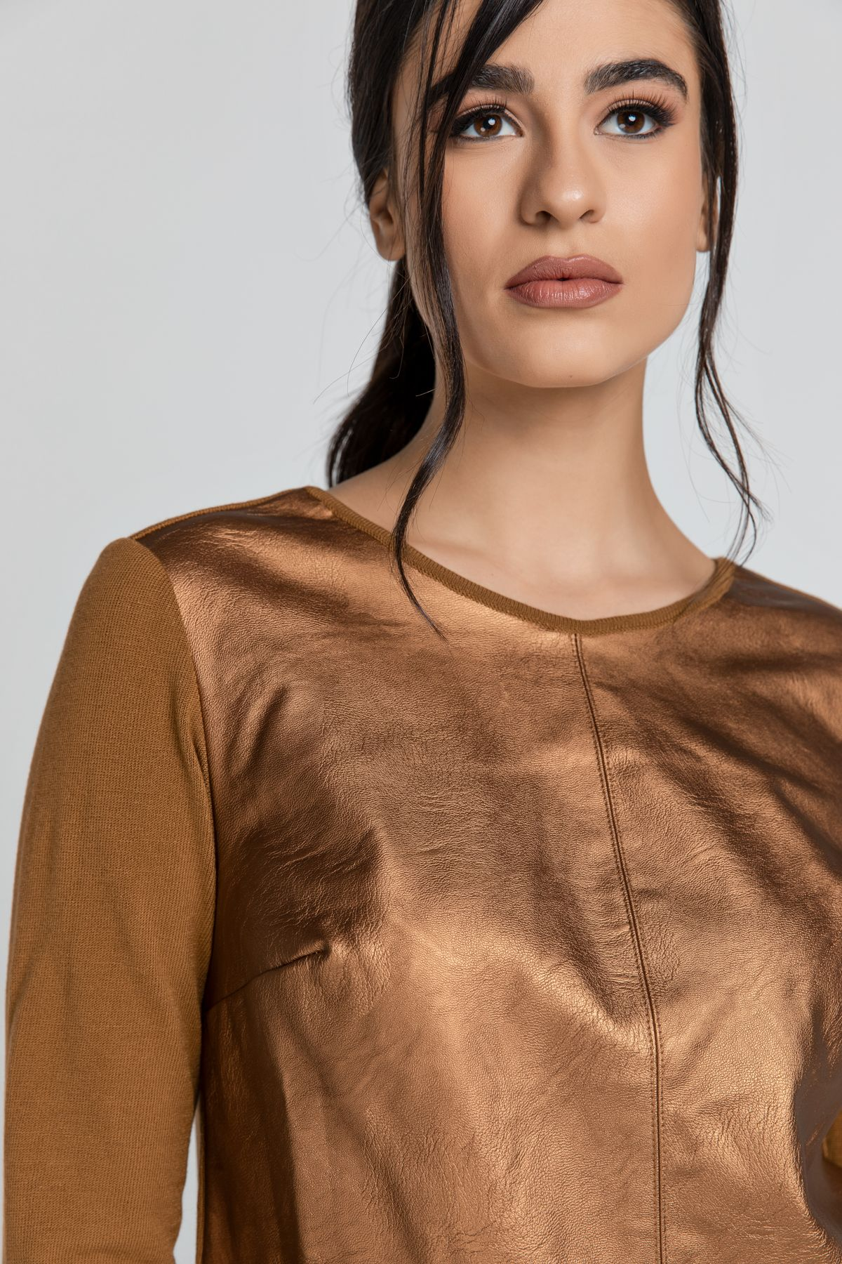 Bronze Top with Faux Leather Front