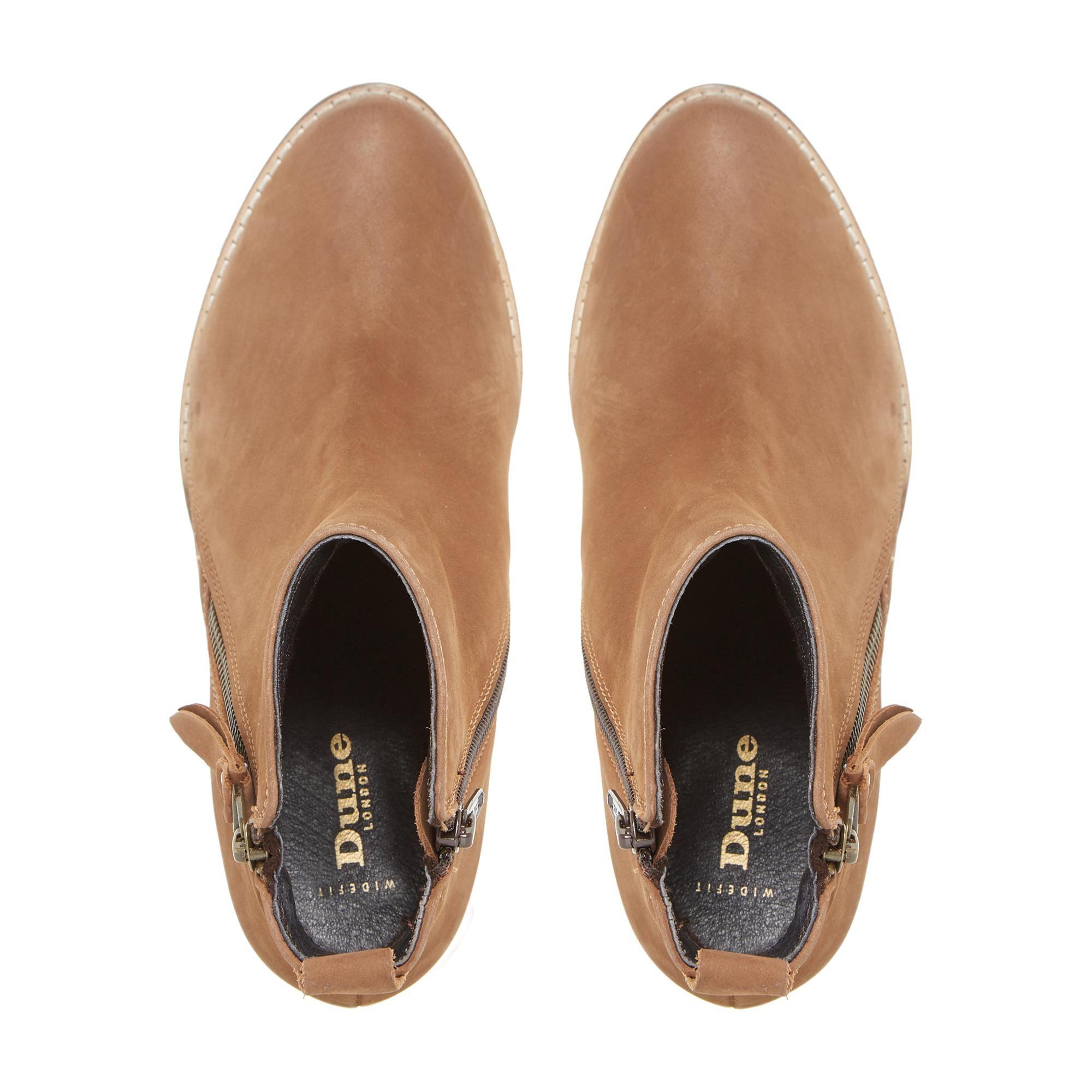 Dune Ladies WF PONTOON Wide Fit Stacked Heel Side Zip Ankle Boots