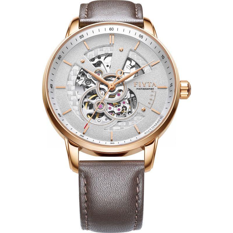 Fiyta Mens Rose Gold  Automatic Skeleton Watch