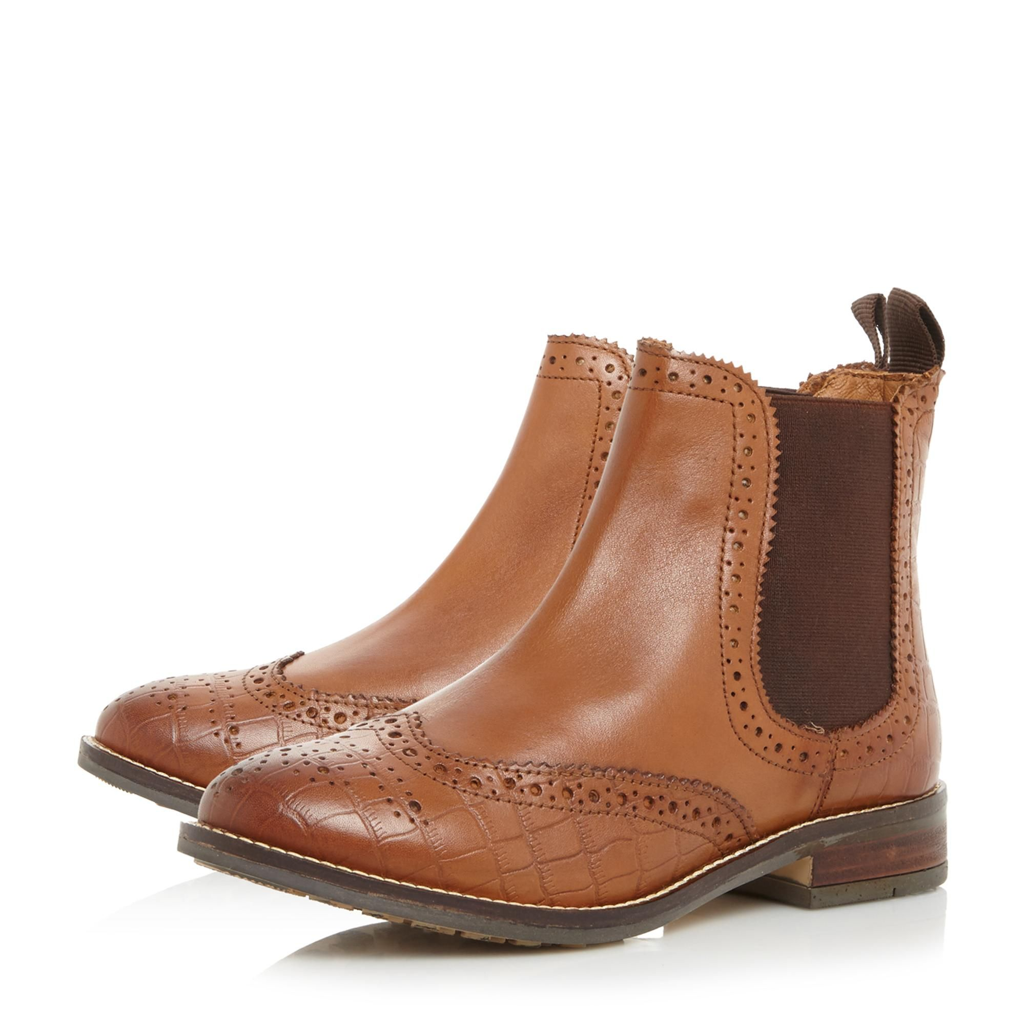 Dune Ladies W QUENTONS Wide Fit Brogue Detail Chelsea Boots