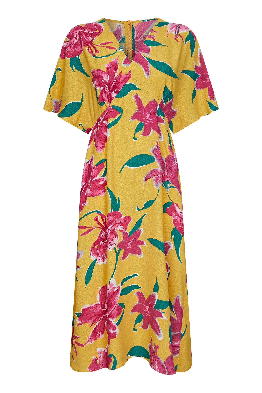 Hibiscus Flower Kimono Midi Dress