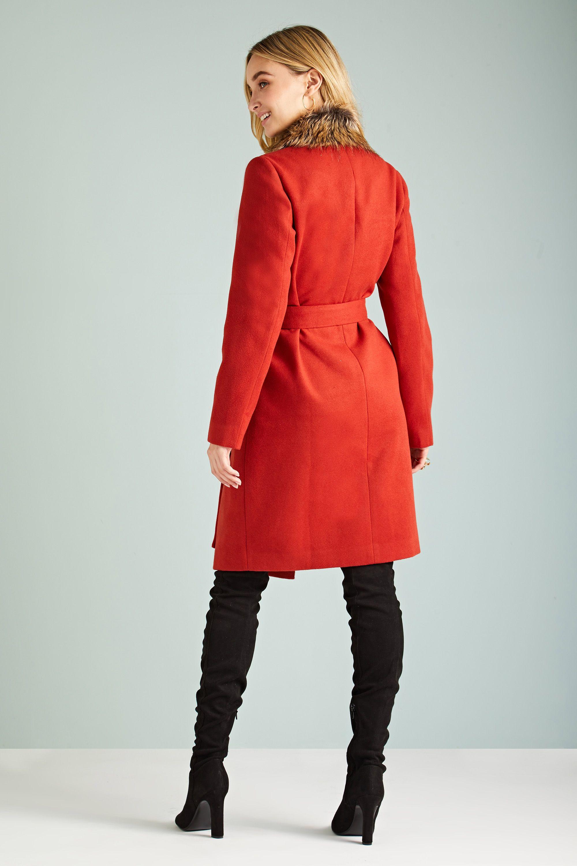 Fur Collar Wrap Coat