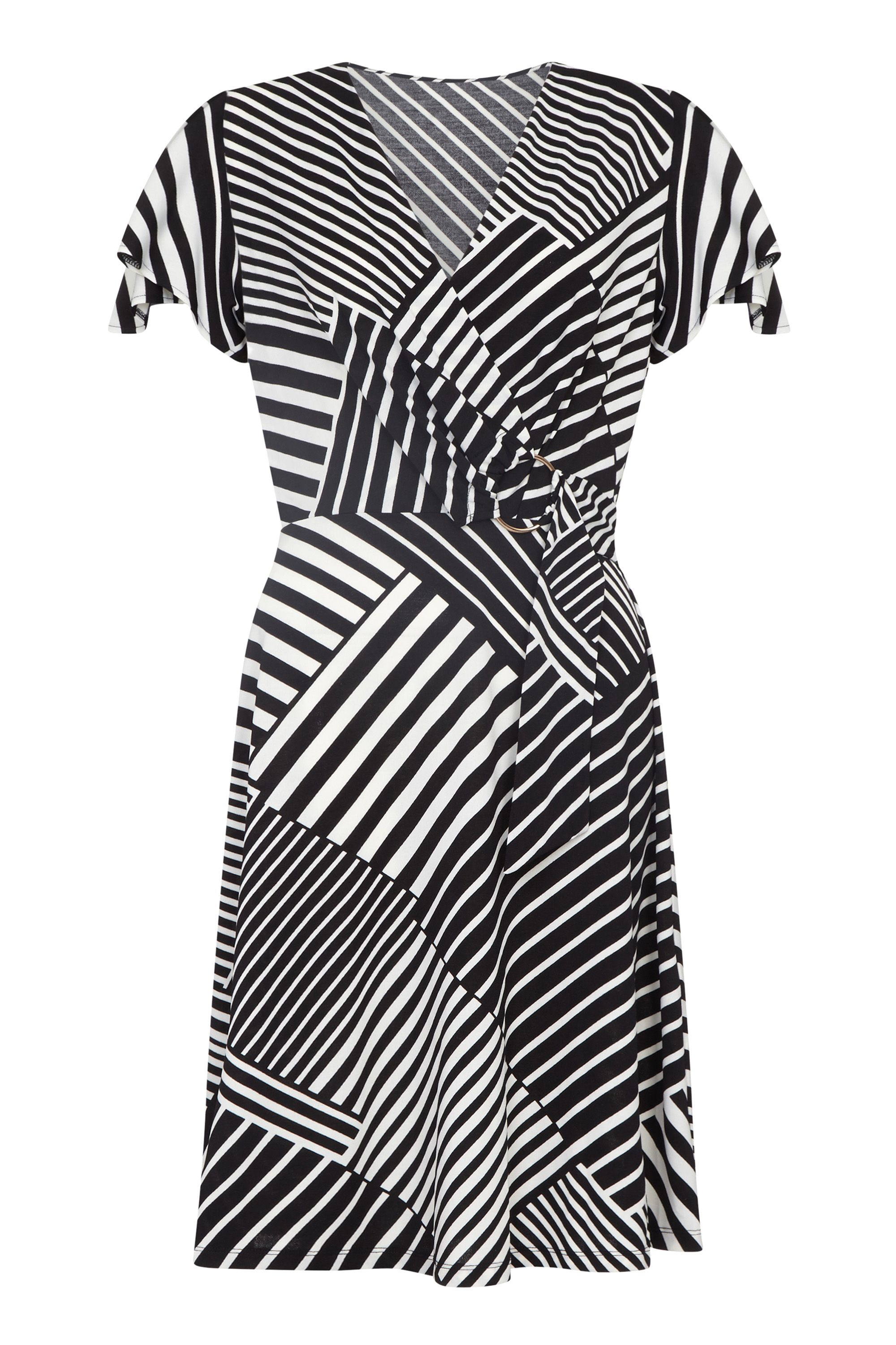 Patchwork Stripe Jersey Dress With Buckl