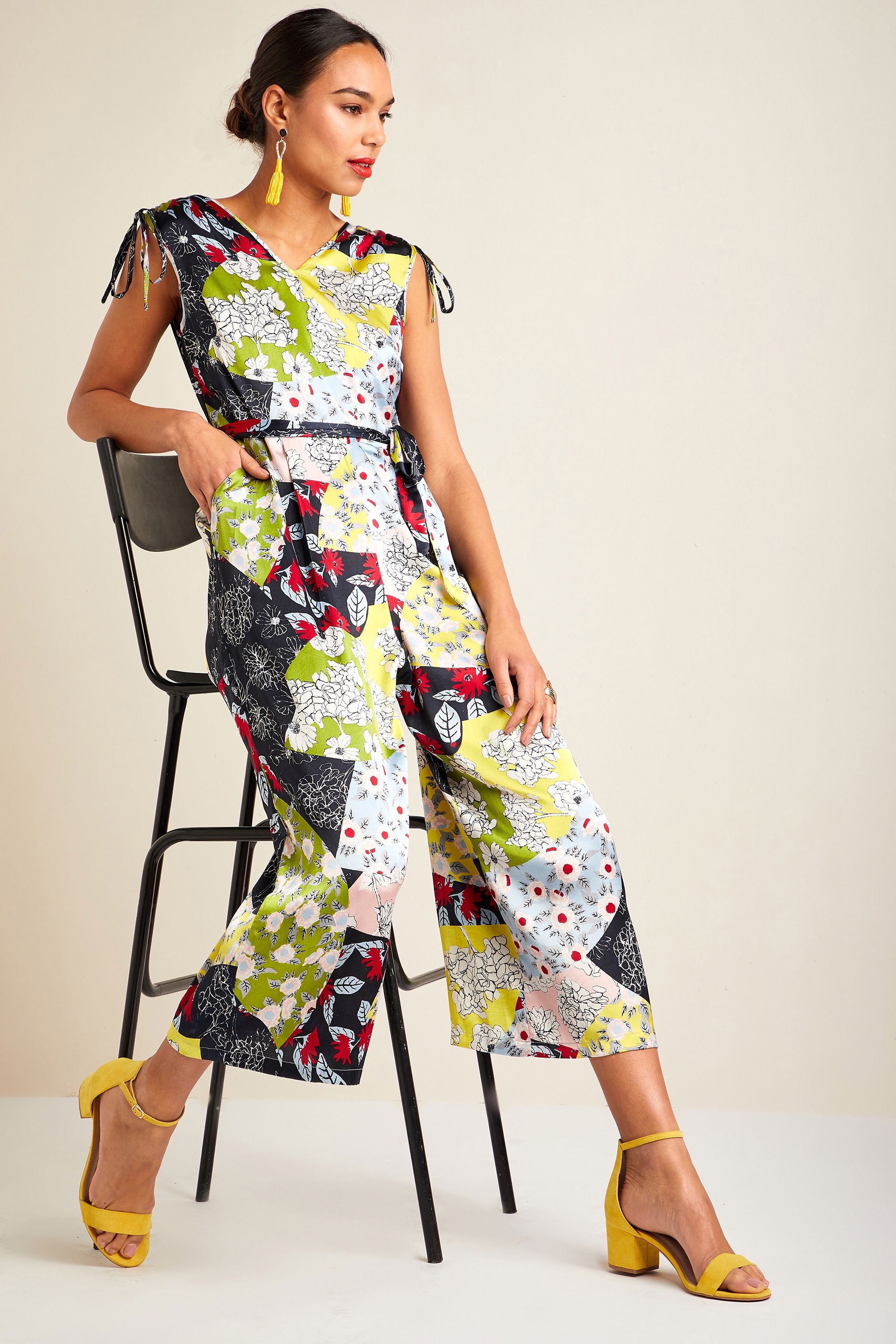 Patchwork Print Jumpsuit With Ruched Sho