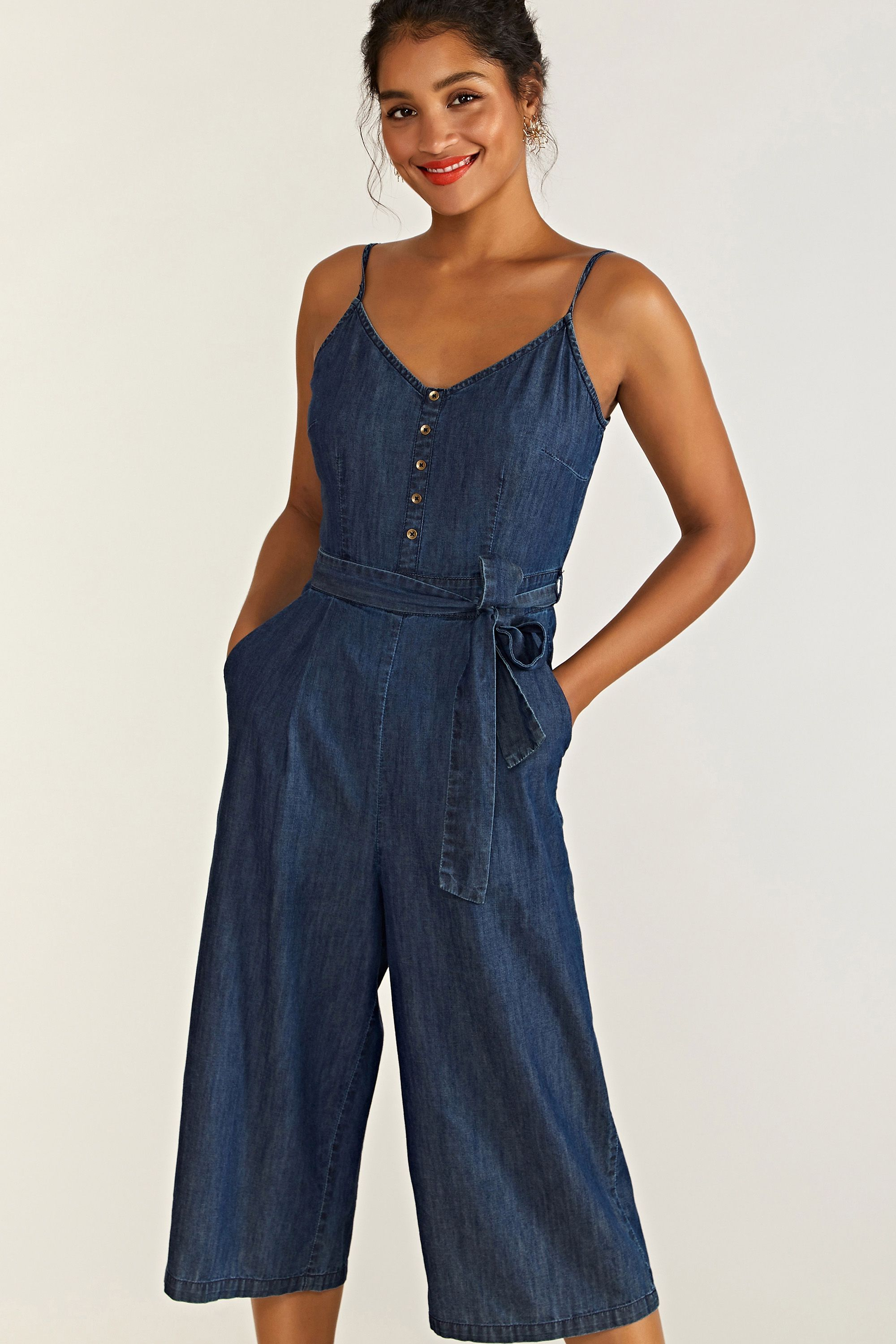 Denim Jumpsuit With Button Detail