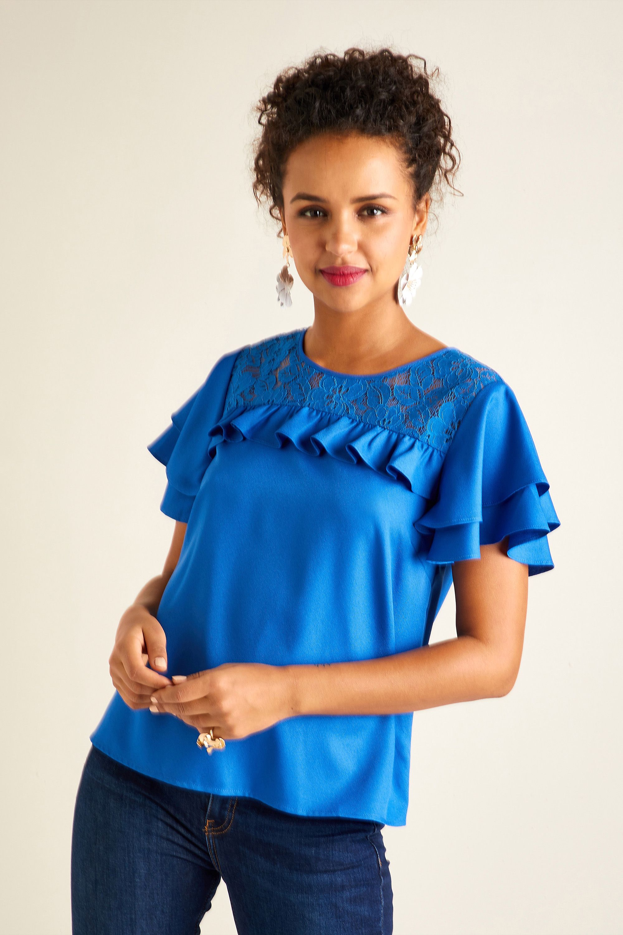 Frill Sleeve Lace Top