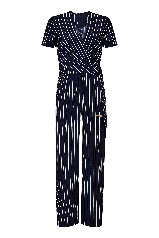 Stripe Wrap Jumpsuit With Tie Detail