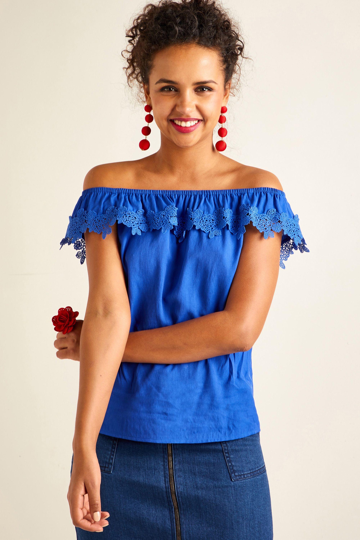 Flower Lace Trim Bardot Top