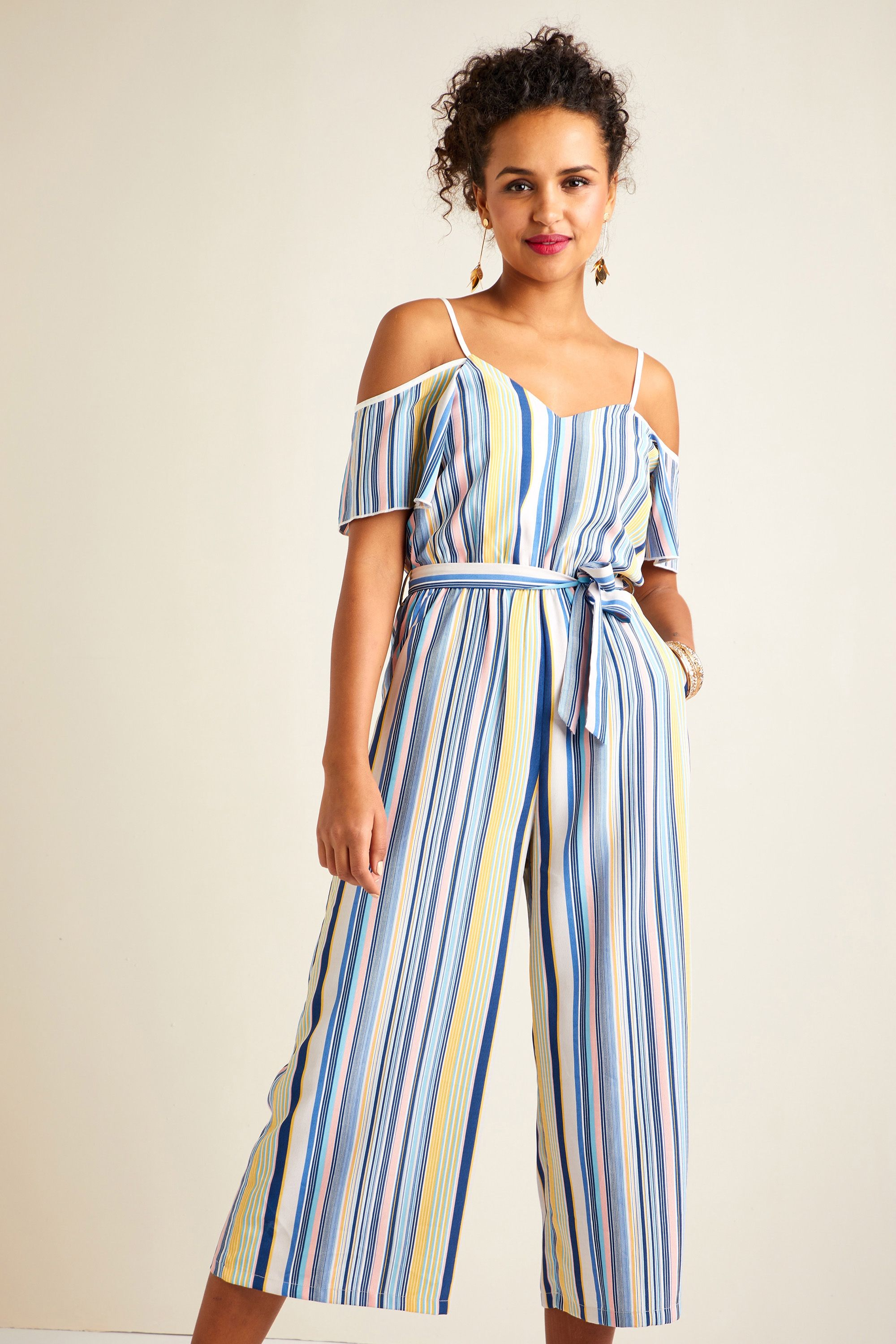 Pastel Stripe Cold Shoulder Jumpsuit