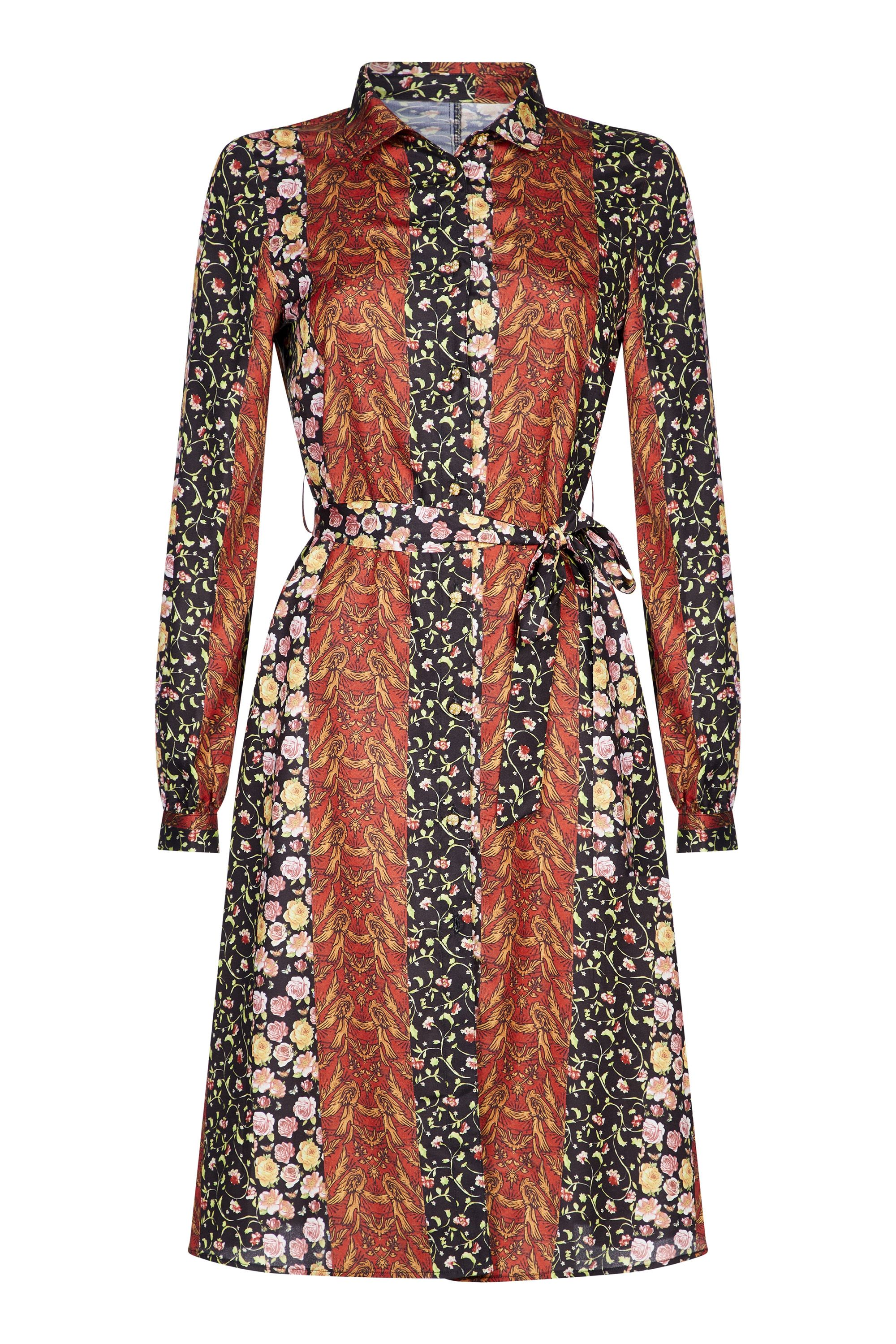 Multi Ditsy Floral Stripe Print Shirt Dress