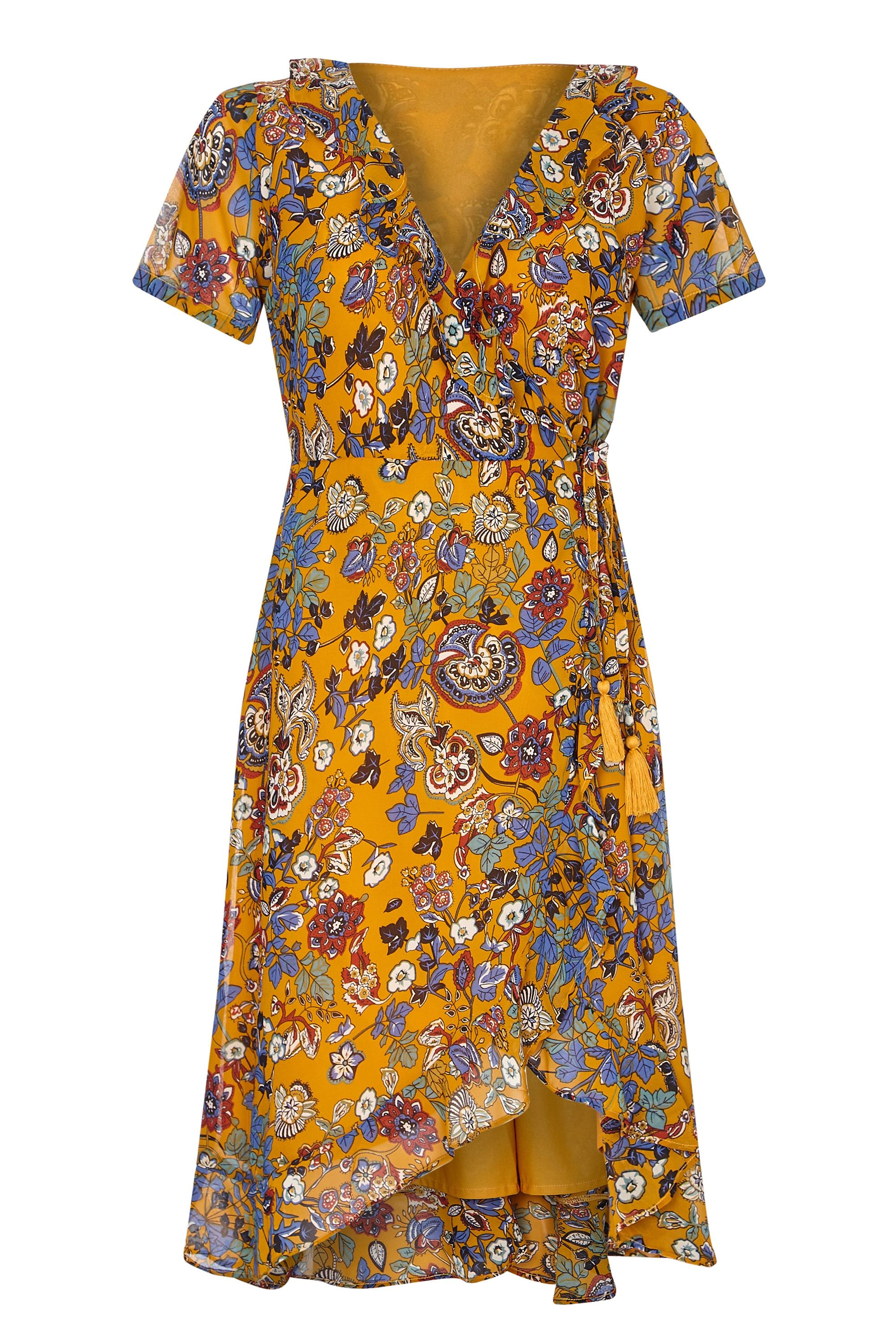 Mustard Indian Chintz Floral Wrap Dress