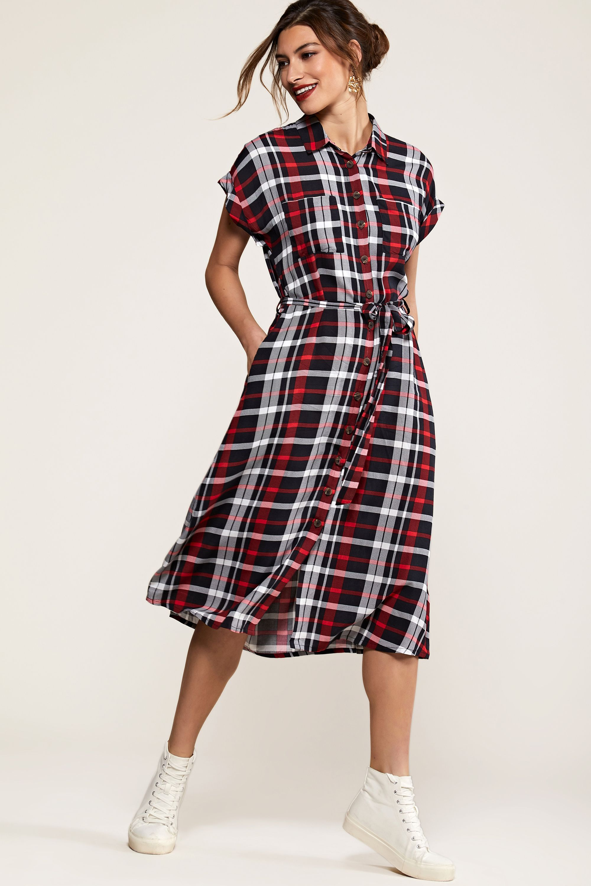 Multi Check Print Shirt Dress
