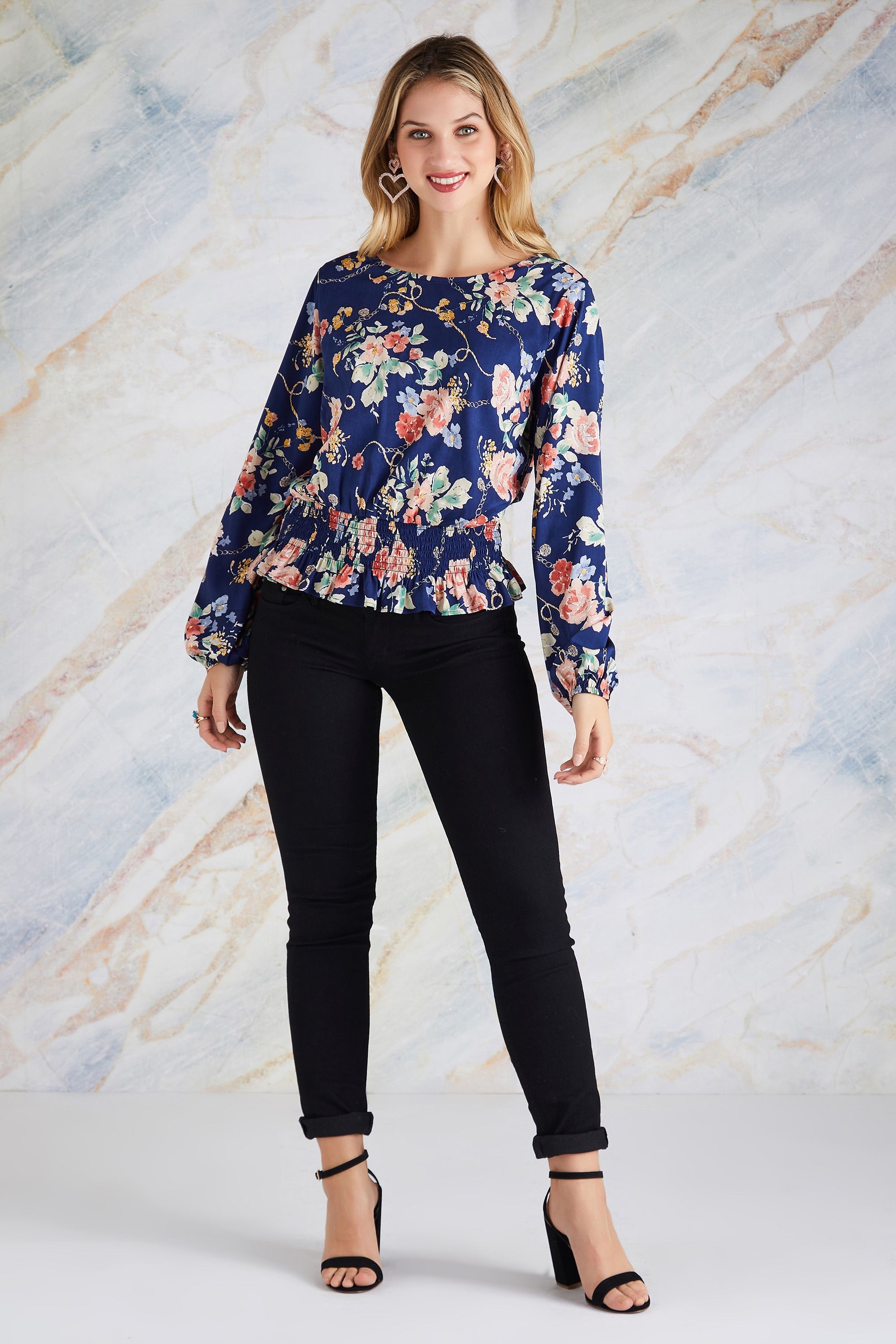 Rose And Chain Print Ruched Top