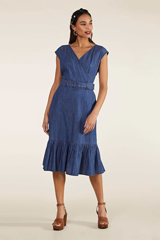 Blue Denim Gypsy Wrap Dress With Belt
