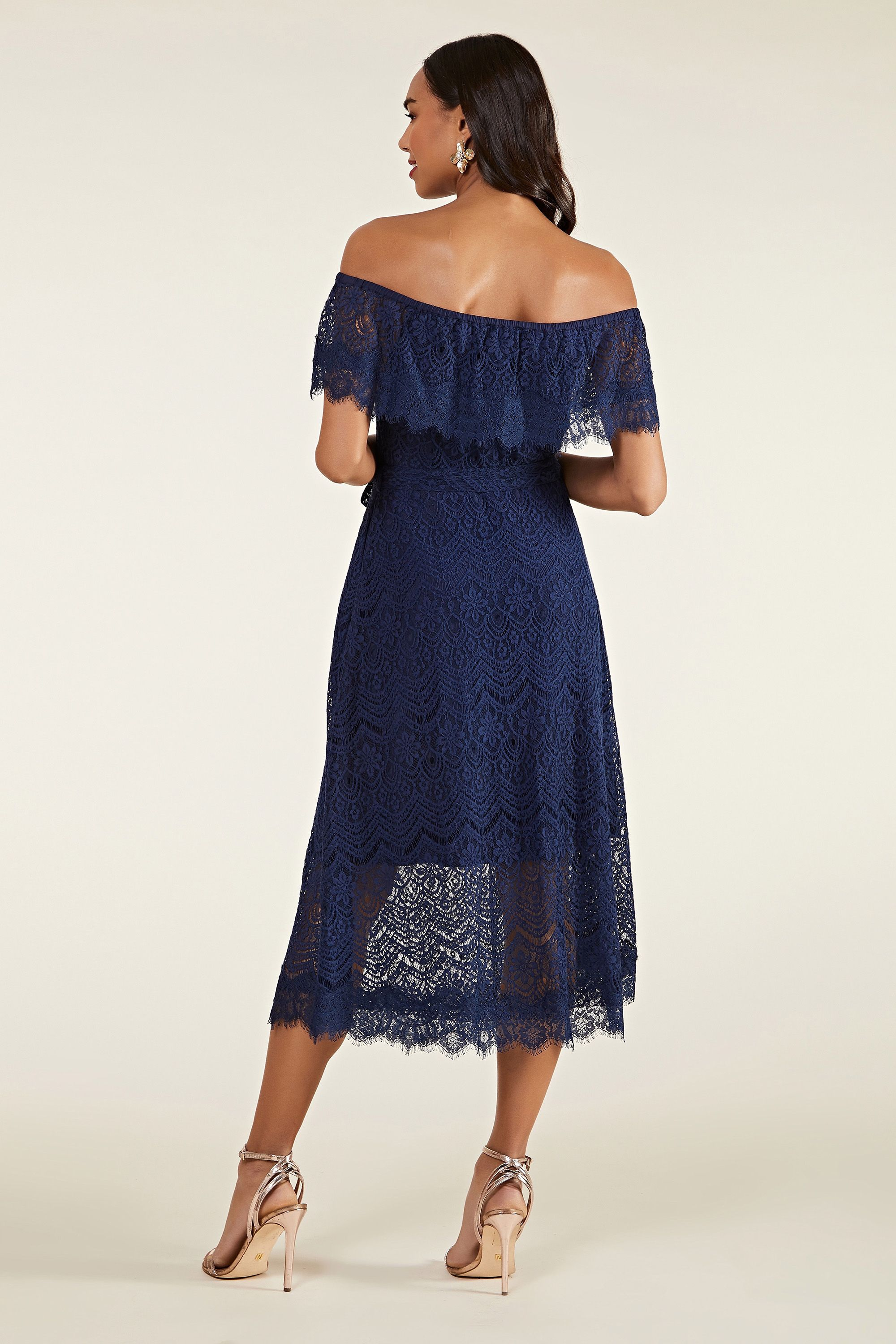 Navy Bardot Lace Dress With Tie Belt