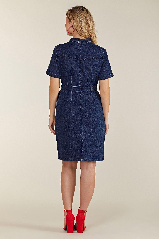 Blue Denim Shirt Dress With Zipper