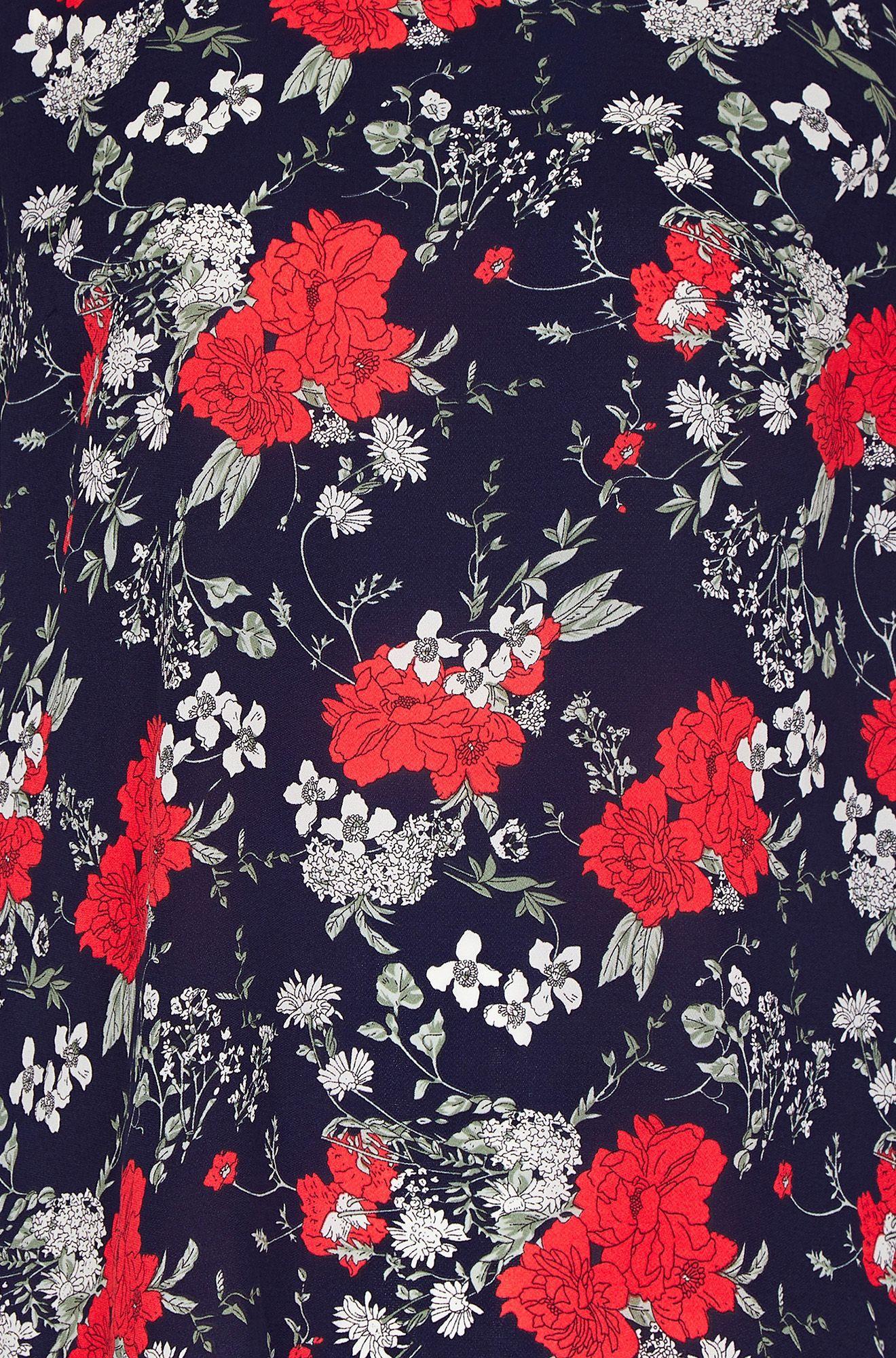 Navy Poppy Print Lace Back Top