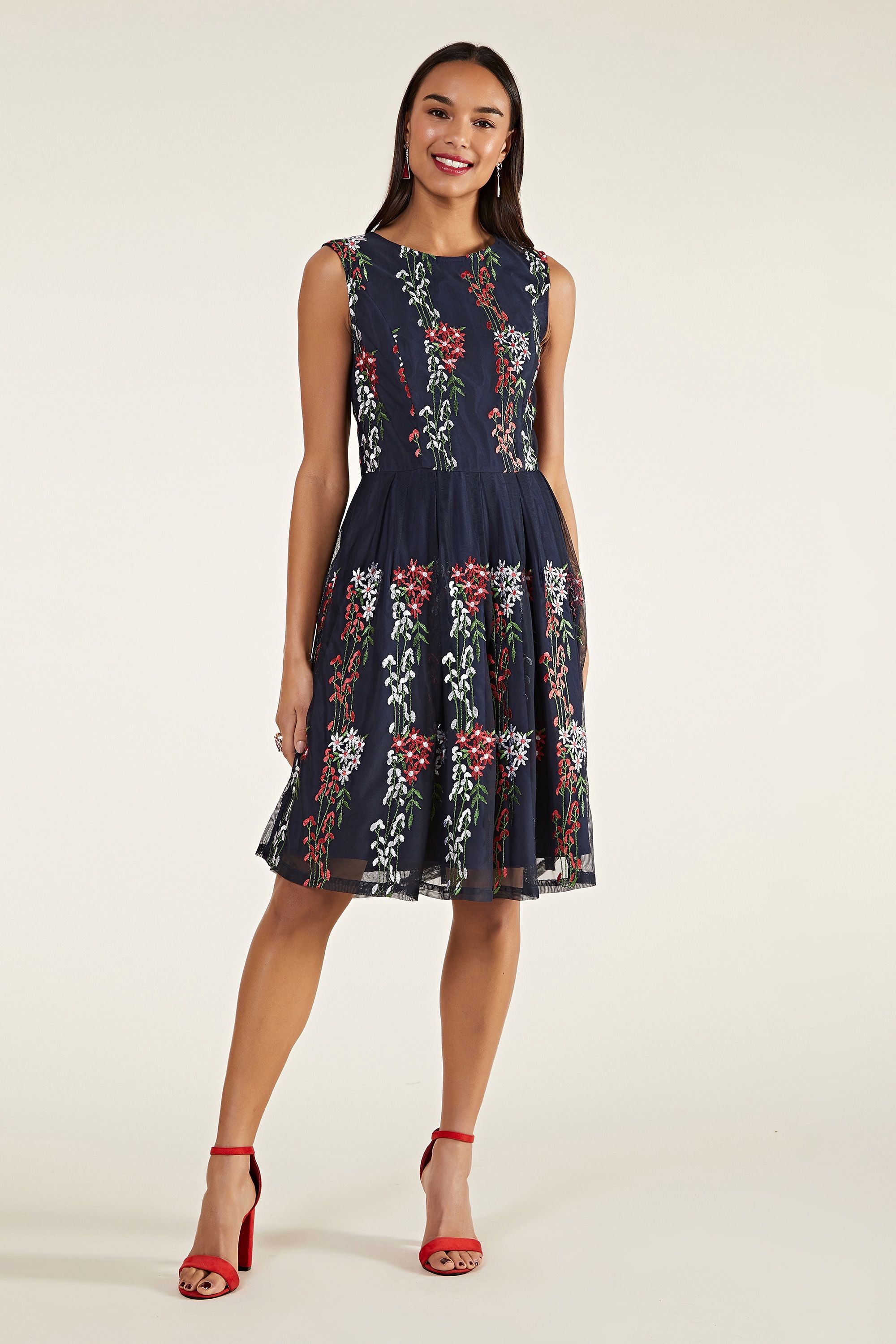 Embroidered Floral Mesh Dress