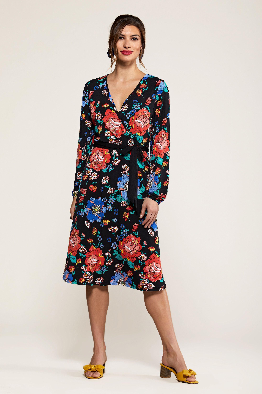 Black Daisy Floral  Wrap Dress