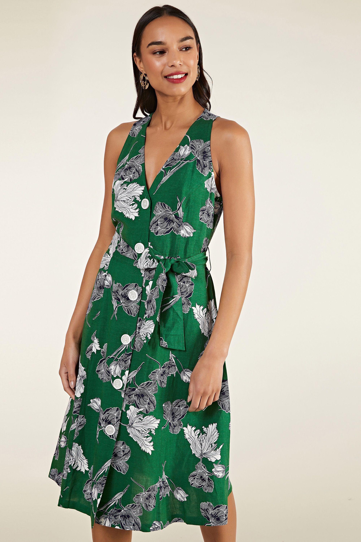 Sketchy Floral Shirt Dress With Tie Belt