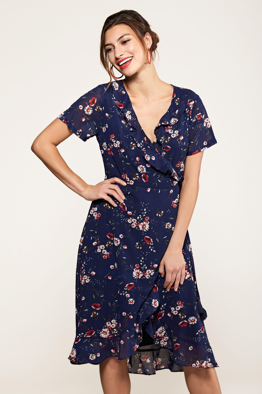 Navy Daisy Print Wrap Dress