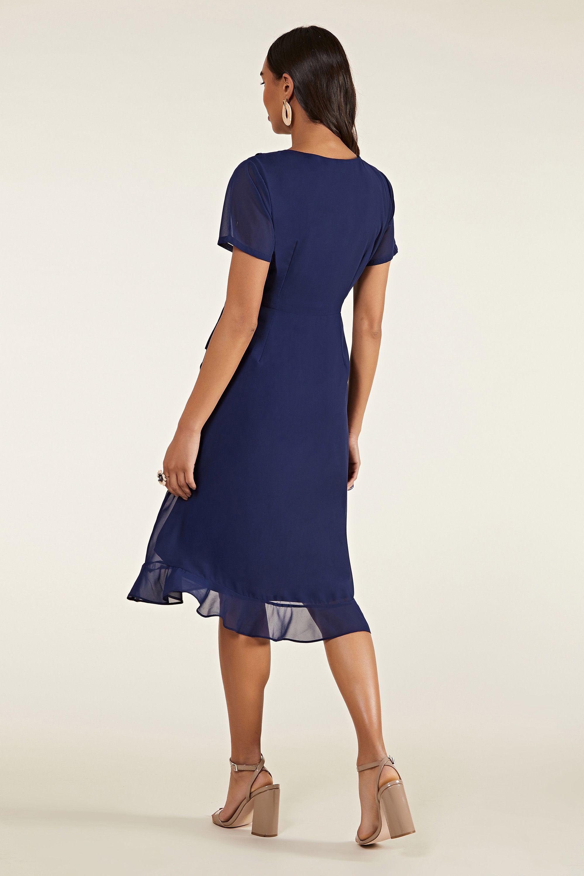 Navy Frill Wrap Dress With Tassel Detail
